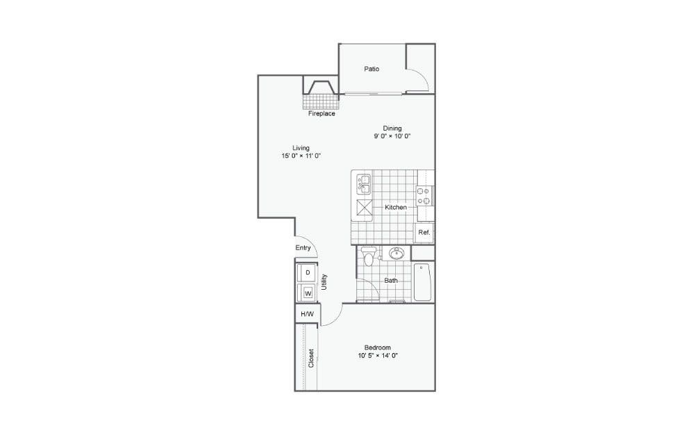 The Beacon - 1 bedroom floorplan layout with 1 bath and 716 square feet.