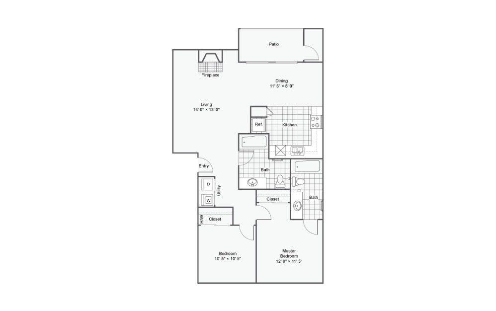 The Signal - 2 bedroom floorplan layout with 2 baths and 1088 square feet.